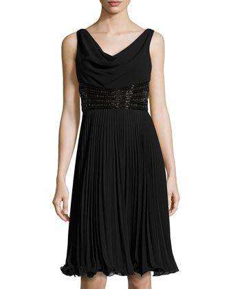 Beaded Pleated Sleeveless Cocktail Dress, Black by Teri Jon at Neiman Marcus Last Call.