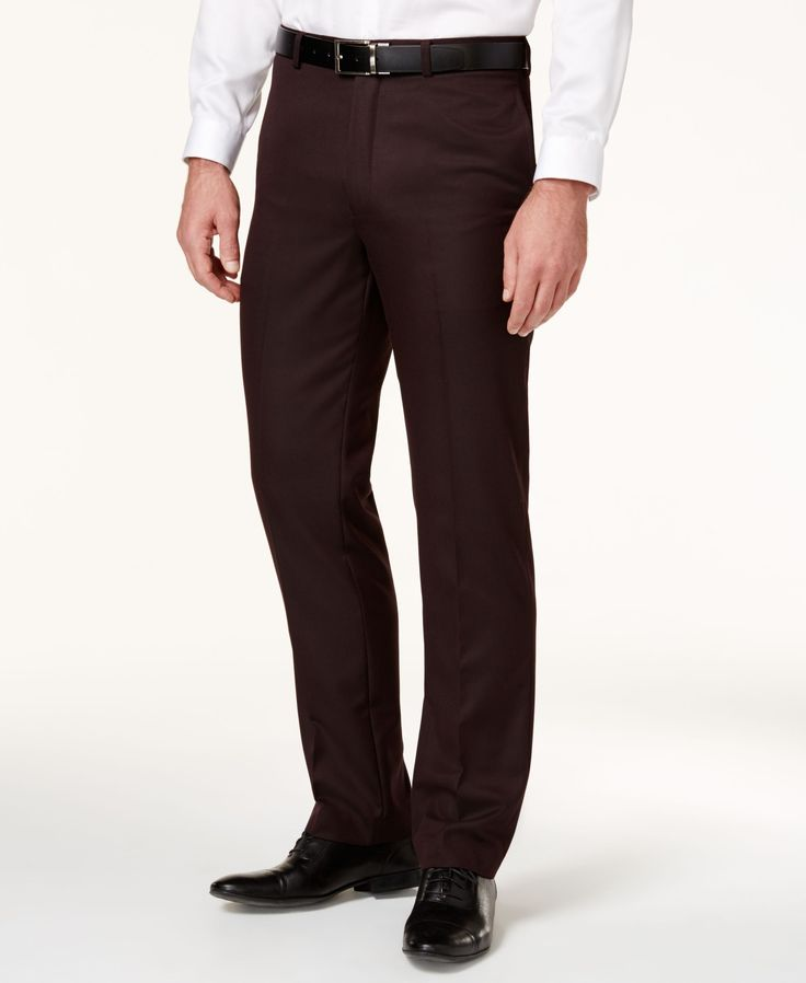 Calvin Klein Men's Burgundy Flat-Front Slim-Fit Dress Pants