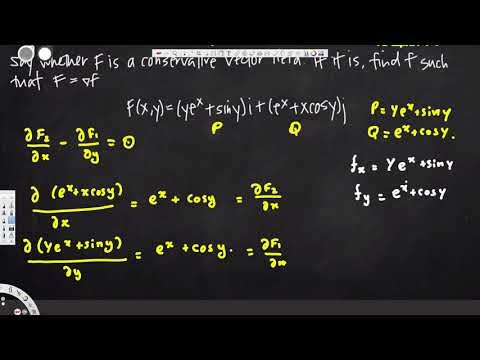 potential function of a conservative vector field  -  Vector Calculus