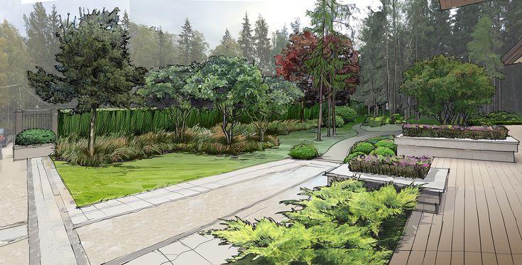 Современный сад в КП Вымпел Вилла 1 - ARCADIA GARDEN Landscape studio
