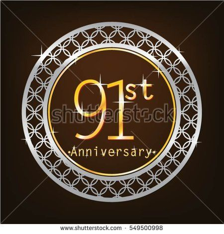 brown background and silver circle 91st anniversary