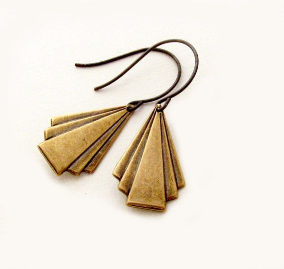 Art Deco Earrings Geometric Earrings Antique Brass Rustic Drop Earrings Triangle Dangle Earrings -  Deco Drops