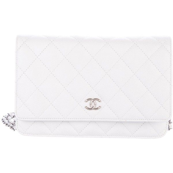Pre-owned Chanel Caviar Wallet On Chain ($1,795) ❤ liked on Polyvore featuring bags, wallets, white, genuine leather wallet, quilted wallet, snap closure wallet, real leather wallets and leather zip wallet