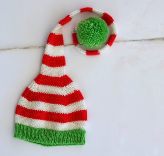 Knitting Patterns For Christmas Hats : Christmas hat - Knit baby hat - Newborn Christmas knitted hat - Red w?