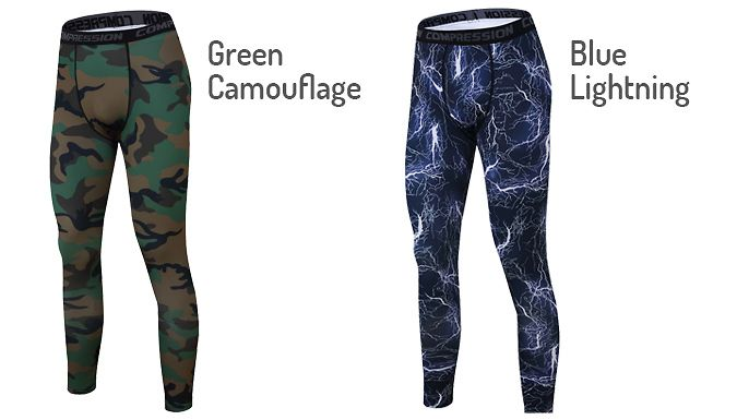 Men's Compression Leggings - 6 Colours Stretchable, breathable and sweat-wickening - the Men's Compression Leggings      Choice of 3 designs, totalling 6 colours:                 Camouflage - red or green          Lightning - blue          Stripes - green, grey or red                  Available in 6 sizes: S, M, L, XL, XXL, XXXL (see Full Details for size guide)      Made from polyester and...