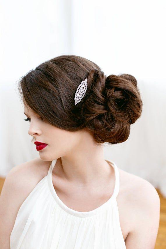 Art Deco Clear Pave Rhinestone Silver Bridal Hair Clip, Great Gatsby, Art Deco, Downton Abbey, Bridal Accessory, Rhinestone Clip CHARLOTTE