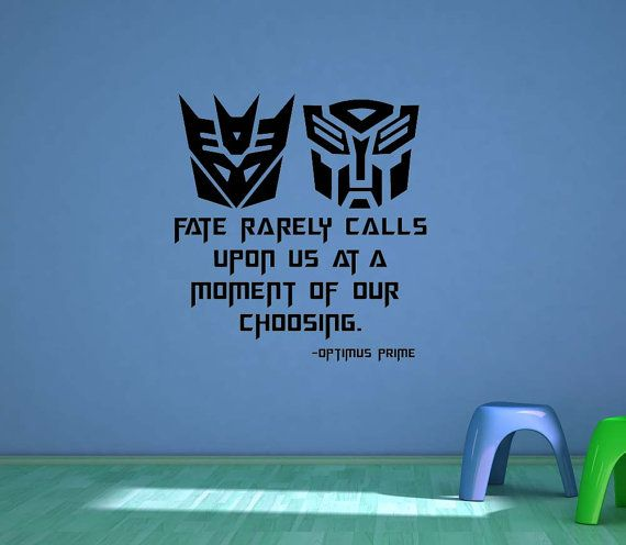 Doesnt go with his theme but he would LOVE and we could put somewhere that's not a main focal point. Transformers, Decepticons, Autobot, Optimis Prime, Quote, Decal, Vinyl, Sticker, Wall Art, home, bedroom, nursery, kid's decor