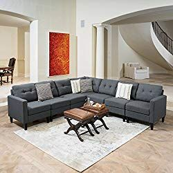 Great Deal Furniture Emma Mid Century Modern 7 Piece Dark Grey Fabric  Extended Sectional Sofa