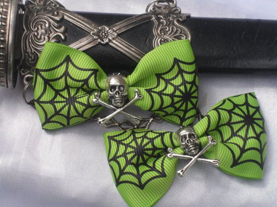 Supernatural Cemetery Green Zombie Hair Bows, Gothic, Cyber, Punk, Spooky, Creppy, Toxic, Dark Desires Hair Play