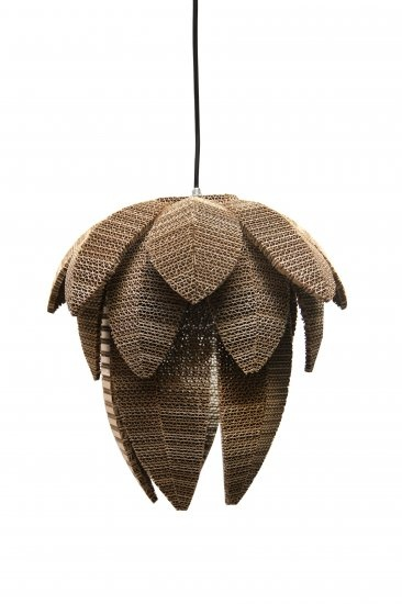Ecological cardboard hanging lamp 25 cm Lily