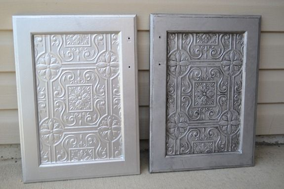 tin tile wallpaper for inserts of cupboard doors... beadboard??