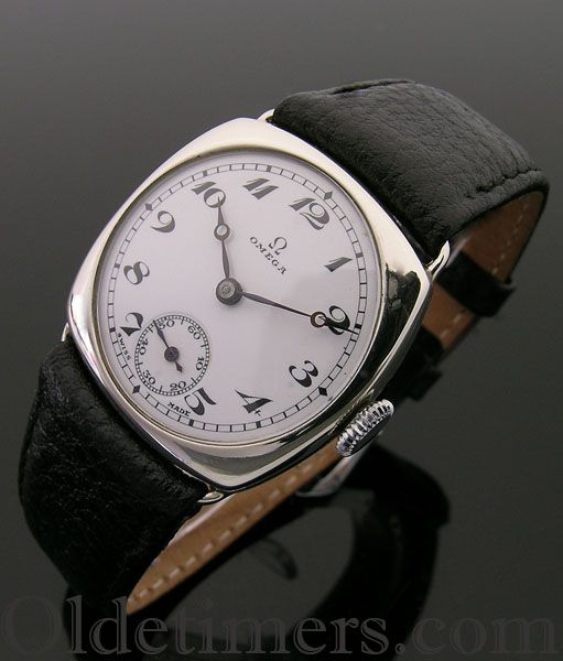 A cushion vintage Omega watch, 1920s