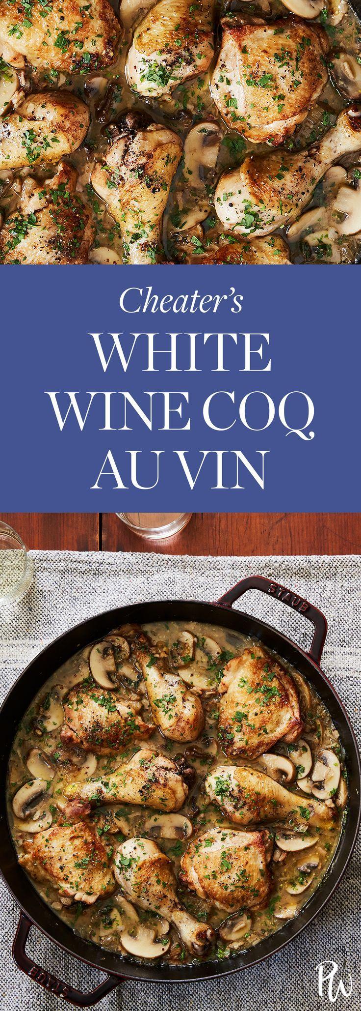 Cheater's White Wine Coq au Vin. #coqauvin #chickenrecipes #chicken #dinnerrecipes