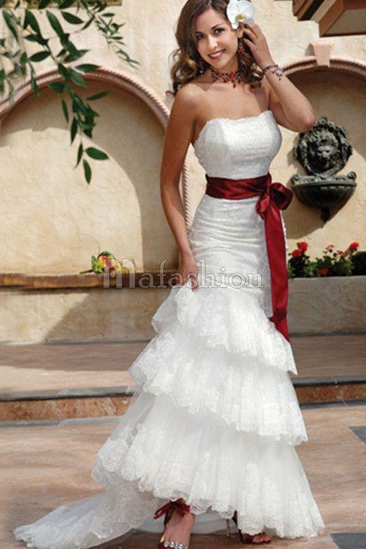 Robe de Mariée Romantique Naturel Avec Gradins Avec Sans Manches