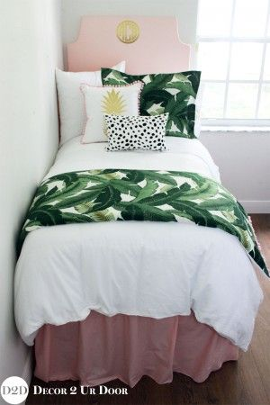 Palm Leaf & Pastel Pink Designer Dorm Bedding Set