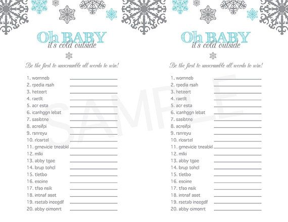 Baby Shower Game Printable   Baby Itu0027s Cold Outside Word Scramble