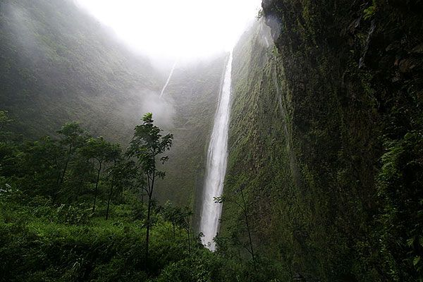 Big Island-Waipio Valley.  Our hike back to these falls was undoubtedly our most adventurous hike to date - much of it through the river. Not for the faint of heart. (And yes - I was faint hearted on this hike. Scared spitless.)  Or for expensive camera equipment.