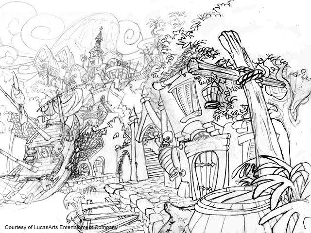 The Curse of Monkey Island 1997 sketch schizzo level livello paese village borgo