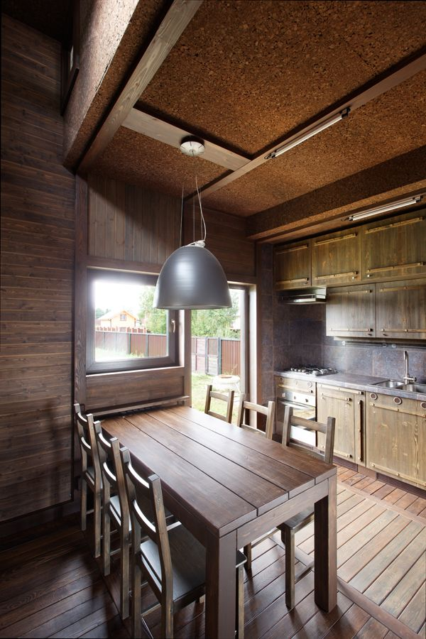 Wood Patchwork #House by Peter Kostelov | Like & pin it to your board if you like this! #architecture #residential #woodarchitecture #dining #kitchen