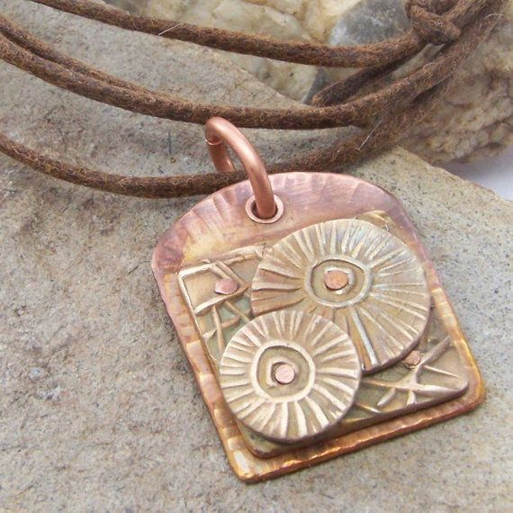 Mixed Metal Necklace, Flower Garden Necklace, Copper Brass Flowers, 7th 8th Anniversary Gift, Gift for her wife, Mixed Metal Jewelry, Boho