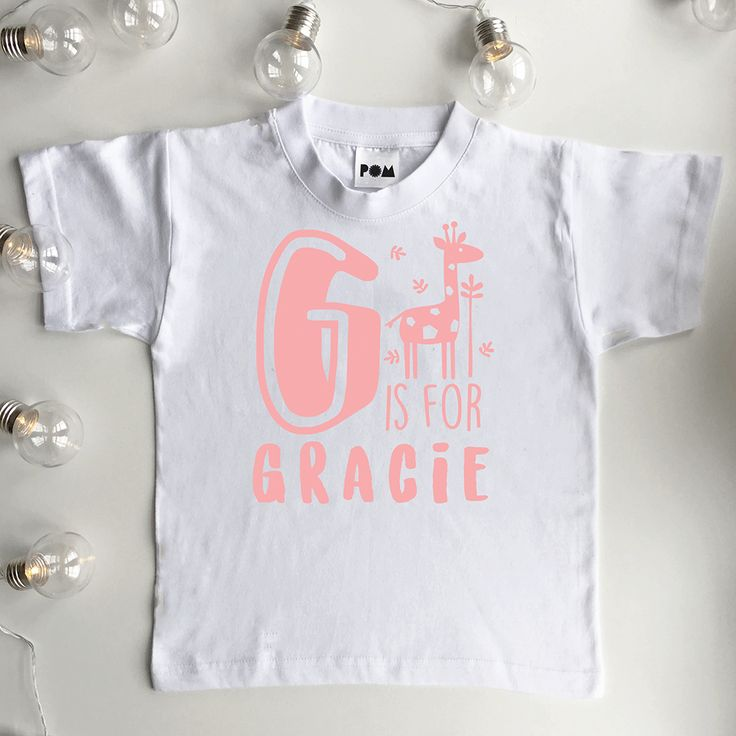 Personalised Girls Alphabet T Shirt  Perosonalised baby girl and kids name T Shirt Top Cute Gift idea for kids