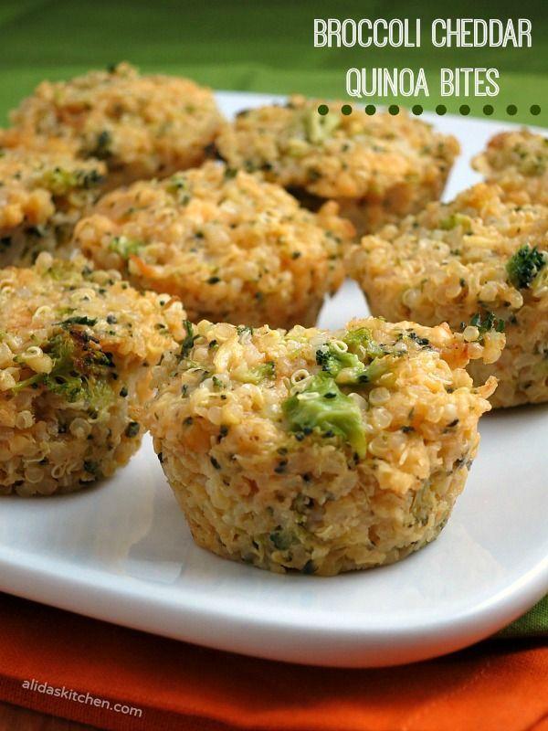 Broccoli Cheddar Quinoa Bites | alidaskitchen.com