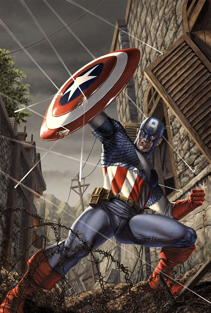Captain America (Steve Rogers) is a  superhero in the Marvel Comic universe. Created  by Joe Simon and Jack Kirby, he first appeared in Captain America Comics #1 in 1941. Captain America is the alter ego of Steve Rogers, a frail young man who was enhanced to the peak of human perfection by an experimental serum, in order to aid the United States government's imminent efforts in World War II.