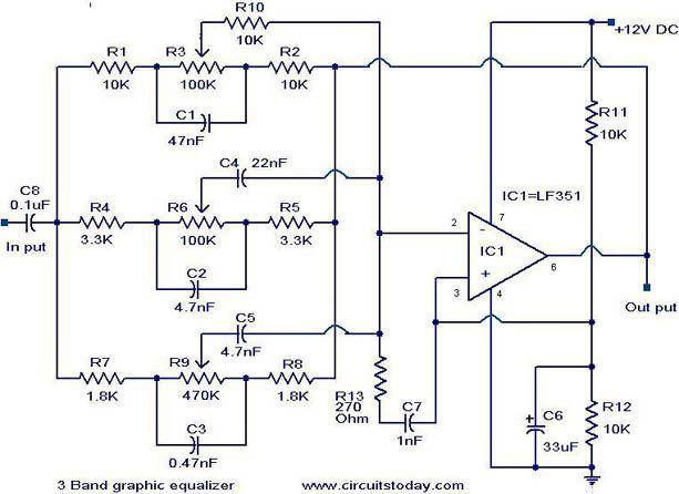 3 Band Graphic Equalizer Circuit Com Imagens Caixas Acusticas