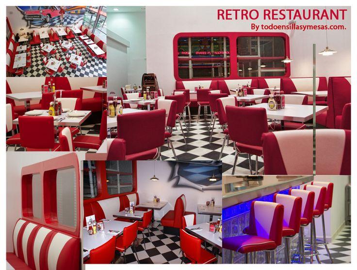 RESTAURANTE: Este tipo de restaurante no es el que yo crearía para mi espacio, pero lo he escogido para que se observe como la decoración juega un papel imprescindible: las mesas, las losetas del suelo, los colores pastel de la pared, el tapizado de las sillas... todo en conjunto nos transporta a un ambiente muy americano años 60.