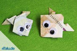 Geldschein zu einem Frosch falten – Faltanleitung