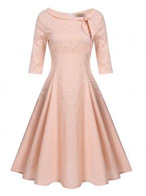Turuncu Kadın Vintage Stil Tekne Boyun Bow Half Kol Polka Noktaları Parti Swing Casual Elbiseler