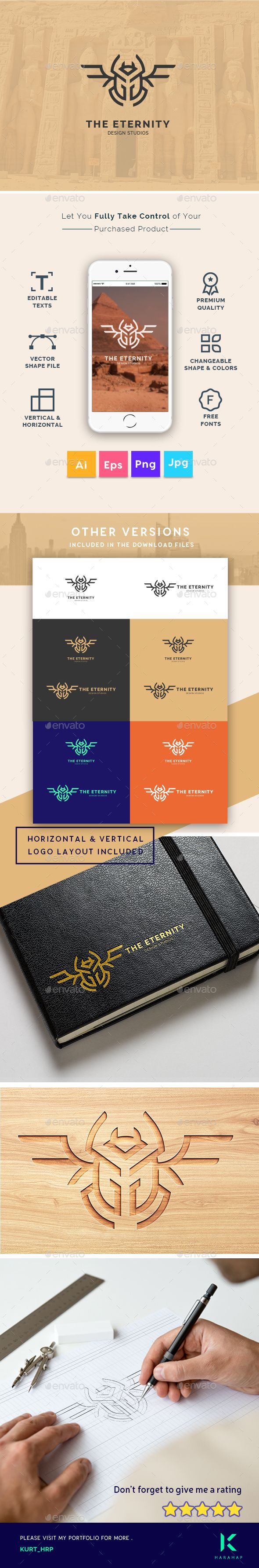 The Eternity - Scarab Beetle Insect symbol Creative Logo Template - Logo Templates