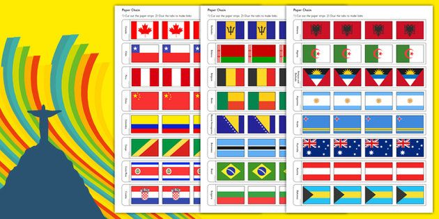 * NEW * Rio Olympics 2016 Country Flags Paper Chain
