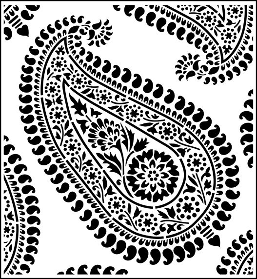 Paisley - repeat stencil from The Stencil Library online catalogue. Buy stencils online. Stencil code SIB16-LR.
