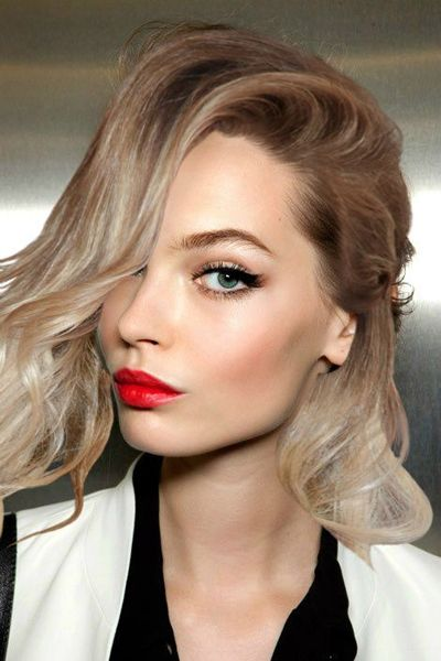 Flicked liner + softly shaded crease + red lips