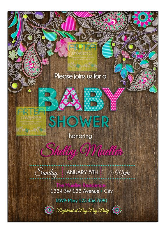 Paisley Baby Shower Invitation  Baby Shower by artisacreations