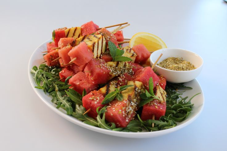BBQ'd Haloumi Skewers w/ Pistachio Dukkah & Watermelon. Sweet, juicy watermelon with salty, barbecued haloumi. #Woolworths #recipe #bbq #cheese http://www.youtube.com/watch?v=GC4ue4gyb9w&feature=c4-overview-vl&list=PLZ-CbFpL2a-sn676JRL2yNSUDr_EOk8XC