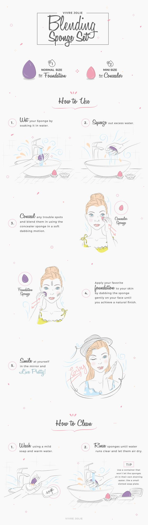 If you're using a blending sponge, make sure you clean it properly. | 17 Foundation Tips For Beginners That'll Make Your Face Glow