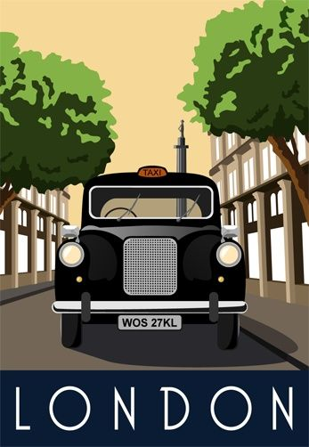 London, England....Travel Poster - I like these colors and this feel for the…
