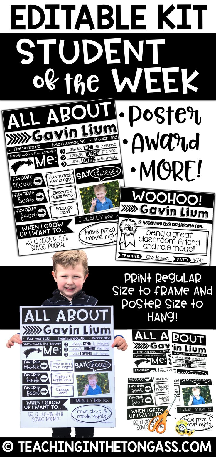This EDITABLE Student of the Week bundle comes in a modern and clean design, which means it's perfect for all year and any grade level! You could even use the poster for back to school or birthdays! Print it in regular size and put it in a frame as an adorable keepsake or print it poster size for a hallway display...or both! Type student details or complete by hand (or send home for families to complete together). This kit includes an editable all about me poster, editable parent letter…
