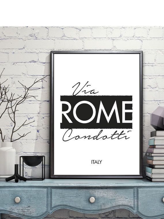 Rome Via Condotti digital print - Scandinavian style graphic art print, Minimalist art, Poster, 50x70cm, A3, A4