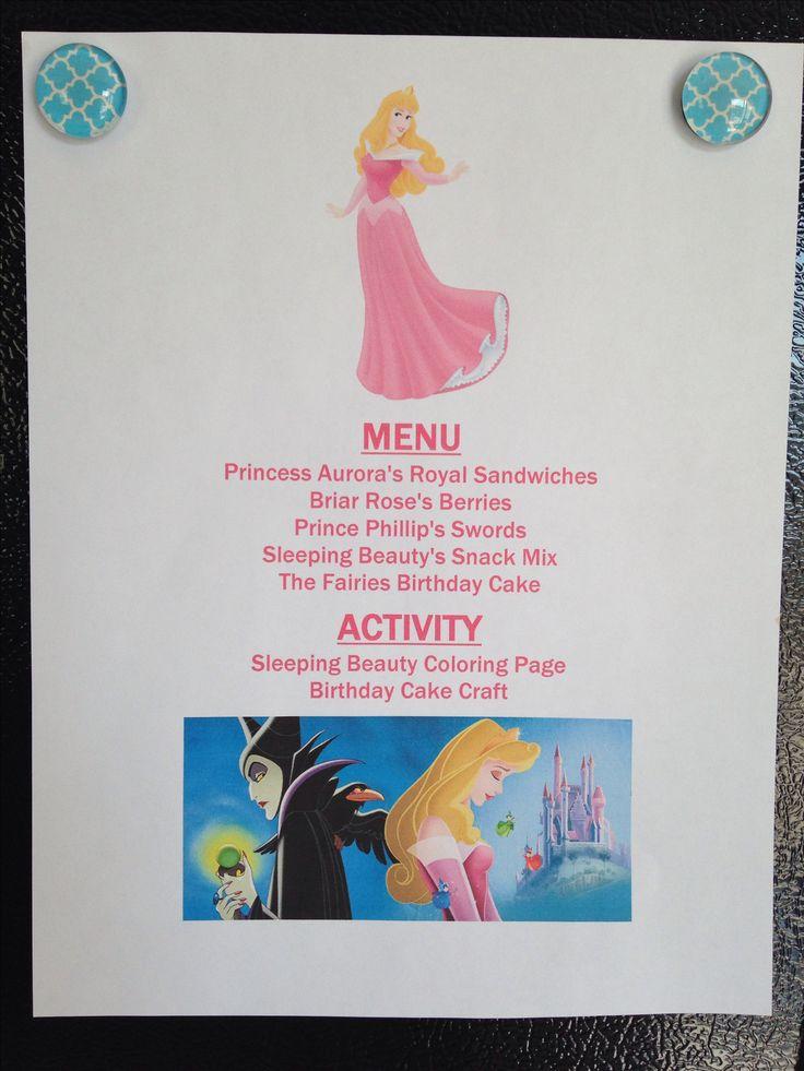 Disney Movie Night Menu: Sleeping Beauty Annette@wishesfamilytravel.com