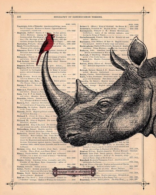 RHINO - art print antique RHINO with cardinal bird rhinoceros altered art book page rhino wall art♥ We designed another of our bird and animal