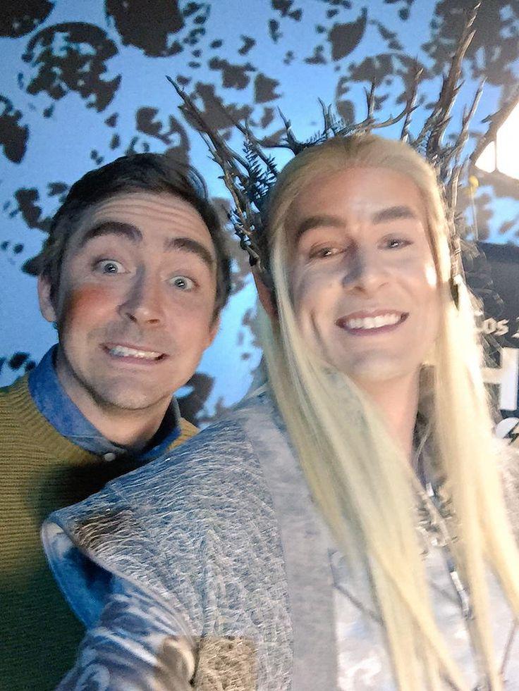 #LeePace goofing around with a #Thranduil cosplayer.  NYC, December 11, 2014.  #elfie