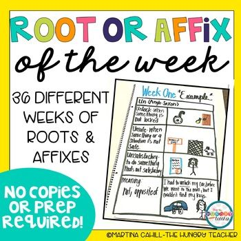 This resource has 36 weeks of super quick Root Word and Affix Warm-Ups or Bell Ringers for your upper-elementary or middle school learners. All work is based on the 4th-8th grade most commonly used Root word and Affixes. Even better, this resource requires no prep or