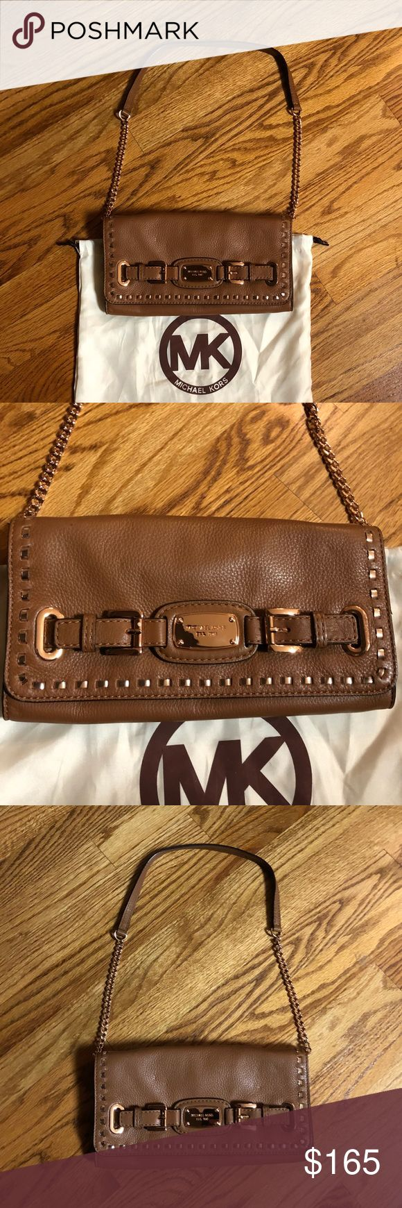 🔥sale🔥Michael Kors Hamilton leather /chain Michael kors chestnut pebbled  leather rose gold chain studded detail in rose gold very gently used super clean no flaws great shoulder bag when you don't wanna carry a big purse inside has card slots for ID ETC . Inner zip pocket large enough to carry all essentials . Included dust bag . This was bought at Michael kors in Chicago not a discount store 11x5x2 Michael Kors Bags Shoulder Bags