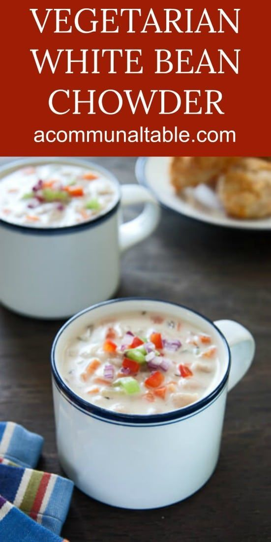 Vegetable and White Bean Chowder - all the flavors you love of a traditional clam chowder but made vegetarian friendly!! #vegetarian #vegetarianrecipes #soup #souprecipes #chowder