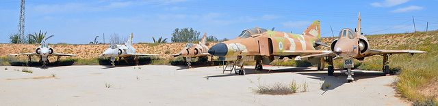 Retired IAF McDonnell Douglas F-4E Phantom & IAI Kfir C7s at Hatserim Air Base Revetment | Flickr - Photo Sharing!