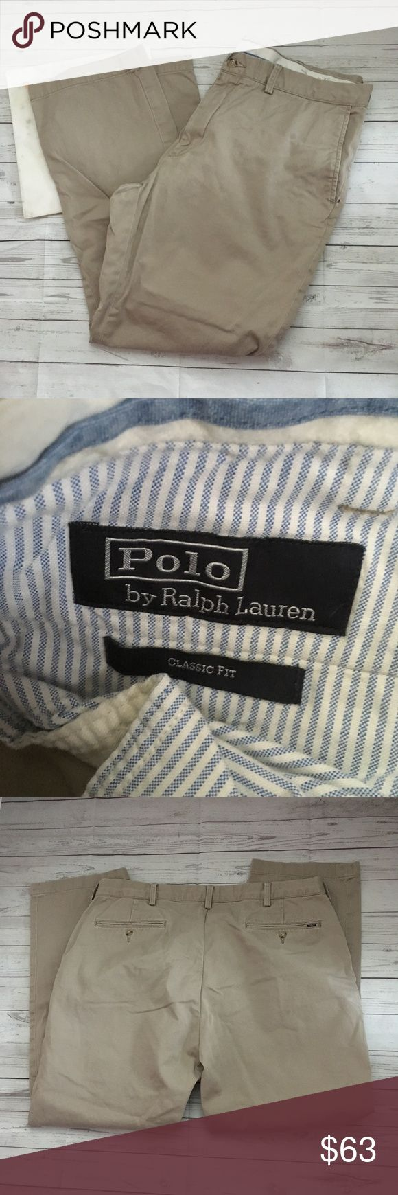 polo ralph lauren mens 38/30 khaki pants classic f gently used with no flaws  great for work  polo ralph lauren 38-30   waist = 18.5 inches  inseam = 28 inches Ralph Lauren Pants Chinos & Khakis