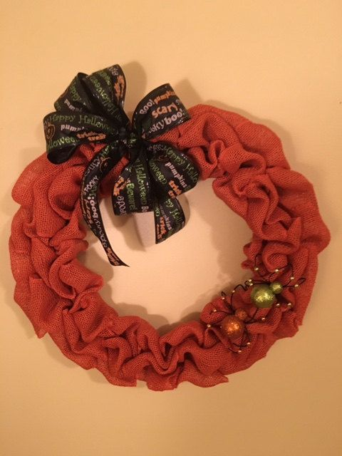 Halloween Orange Burlap Wreath with Decorative Bow and Accent